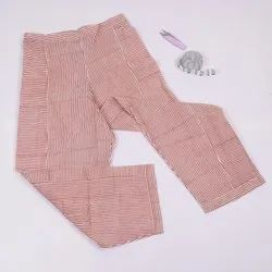 Cotton Line Pattern Trousers In Hand Block Print, Peach