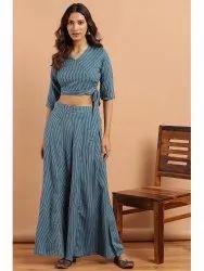 Janasya Women's Teal Rayon Crop Top With Palazzo(J0147)