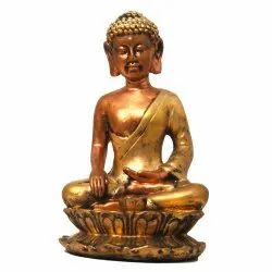 Polyresin Lord Buddha Statue In Earth Touching Gesture In Antique Look