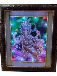 Multicolor Ganesha Lighting Photo Frame, For Decoration, Size: 8x12 Inch