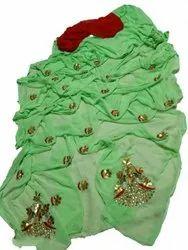Sara Selection Party Wear Ladies Light Green Najmeen Chiffon Saree, 6 m (with blouse piece)
