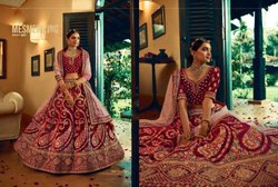 Berry Red Bridal Velvet Lehenga Choli With Embroidery & Hand Work