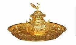 Golden Traditional Brass Lota Thali Set, For Home