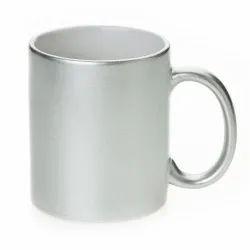 Customize Silver Color Ceramic Coffee Mug For Brand Promotion