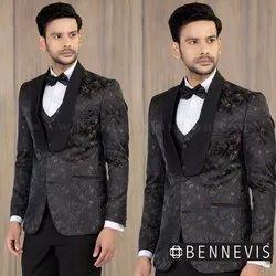 Jacquard Floral Black Wedding Suit For Men