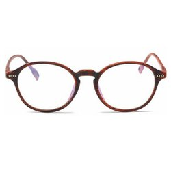Round Spectacles Light Optical Wood Grain Unisex Reading Eyeglasses Clear Glass lens