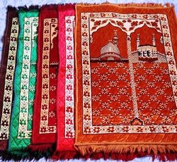 Multicolor Polyester And Cotton Janamaz (Mosque Design), Size: 27x43 Inches