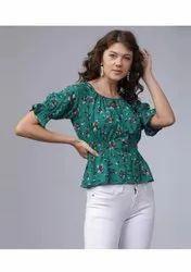 Casual half sleeves printed women  green top