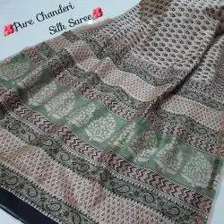 Natural Bagru Hand Block Printed Pure Chanderi Silk Saree With Blouse Piece.