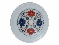 White Marble Stone Inlay Round Plate, For Home, 10 Inch