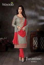 Nayaab JamSatin Party Wear Kurta Churidar Set, Work: Embroidered, Dry clean