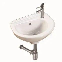 OPEC Wall Mounted Ceramic White Wash Basin, For Bathroom