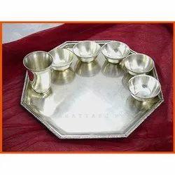 Silver Diining Hexa Brass Thali Set, For Dinning, Dimension: 14