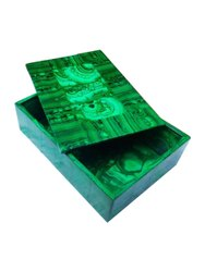 Solid Green Melachite marble jewellery box, For Home, Shape: Rectangular