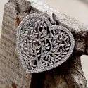 Buguette And Diamond Heart Pendant