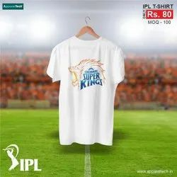 Printed Dry-Fit Indian Premium League CSK T-Shirt, Size: S To XXL