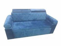 Swed Velvet Blue Three Seater Sofa, 7 Inch