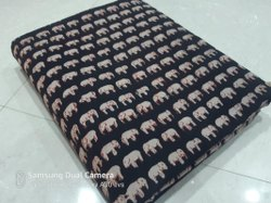 Printed Black Hand Block Cotton Fabric Running