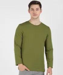 Cotton Albepose Men's Round Neck Full Sleeve T-Shirt Plain Olive