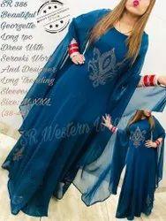 Long Designer Dress With Seroski Work