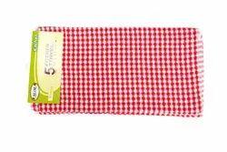 Honeycomb Texture Red Hibiscus 5Pcs pack - Kitchen Towel, Wash Type: Handwash