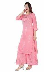 Rayon Pink Women Kurti And Sharara Set