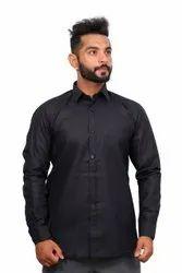 Producer Mens Black Plain Cotton Shirt, Machine wash, Size: Medium