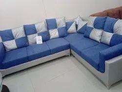 Modern Blue L Shaped Living Room Sofa Set, For Home, Size: 8x5