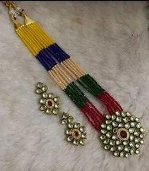 Multicolor Antique Crystal Necklace Set, Occasion: Party