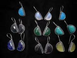 Opalite, Turquoise, Green Onyx Handmade Silver Plated Women Earrings
