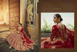 Red Pure Velvet Bridal Lehenga Choli With Zarkan, Dori, Thread And Zari Work