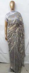 5.5mtr swarovski crystal work NAVRATRI SPECIAL Chantilly Lace Saree, For Garment, Size: 5.5 Mtr