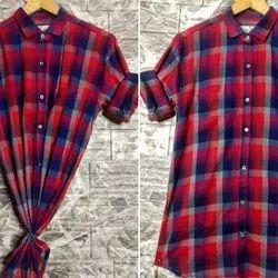 Checked Red Men Cotton Checks Casual Shirt, Size: XL