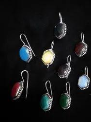 Monalisa, Coral, Opalite, Turquoise, Green onyx Handmade Silver Plated Women Earrings