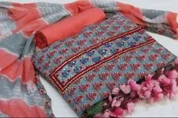 Printed Gray & Red  Hand Block Cotton Suit