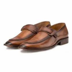 Casual Wear Mens Leather Slip On Shoes Brown 14-12, Size: 7