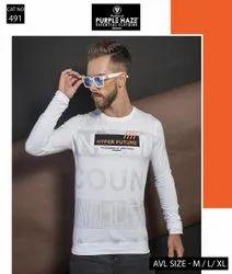 Round Cotton Mens White Full Sleeve T Shirt, Size: Medium