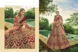 Garnet Red Bridal Velvet Lehenga Choli With Embroidery & Hand Work