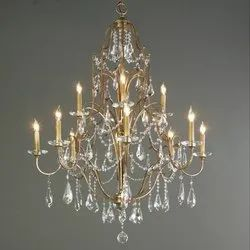 Fluorescent Bulb Iron Luxury Gold Three Tier 12 Candle Lights Lights Crystal Chandelier, Model Name/number: Ppc543
