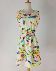 Multicolor Ladies Printed Cotton Dress, Size: Medium