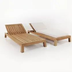Wooden Lounger with Mattress