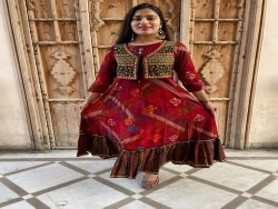 Red long Anarkali Gown
