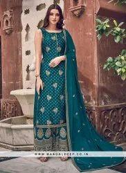 Fantastic Festive Function Wear Teal Color Salwar Suit