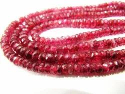 Natural Ruby Red Spinal Rondelle Faceted Top Quality 3.5 To 4.5mm Beads