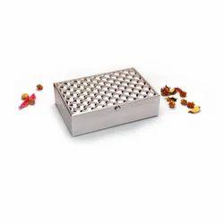 Square Weave Design Silver Box, Size-Medium