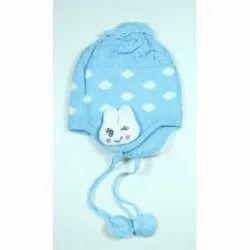 Kids Sky Blue Printed Winter Cap
