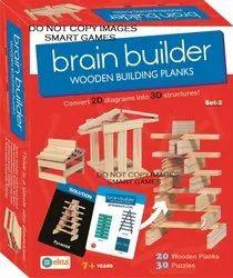 Ekta Brain Builder Wooden Building Planks (Set-2)- Multi Color (Art And Craft)