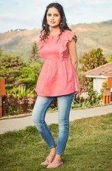 Janasya Women's Pink Cotton Top(J0088)