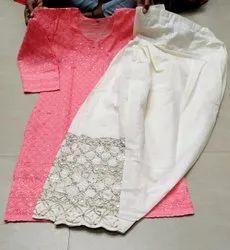 Stitched Casual Ready to Wear - Chikankari Kurti, Patiala Salwar, Waist Size: Free