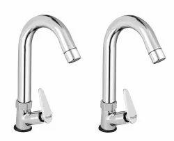 Brass Jazz Swan Neck Taps For Sink/ Wash Basin 360 Degree Moving, Chrome Finish - Set Of 2